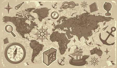 t�lescopes: Retro-disant carte du monde avec Voyage et ic�nes nautiques. Vector illustration.