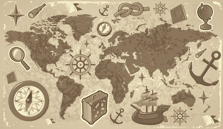 Retro-styled world map with travel and nautical icons. Vector illustration. Vector