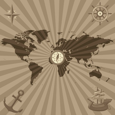 Map of the World with nautical icons. Vector illustration. Vector