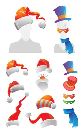 fur cap: Holiday decorations for your avatar. Vector illustration. Illustration