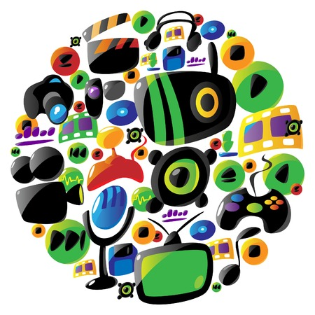 arranged: Icon set for music and entertainment arranged in circle shape. Vector illustration.