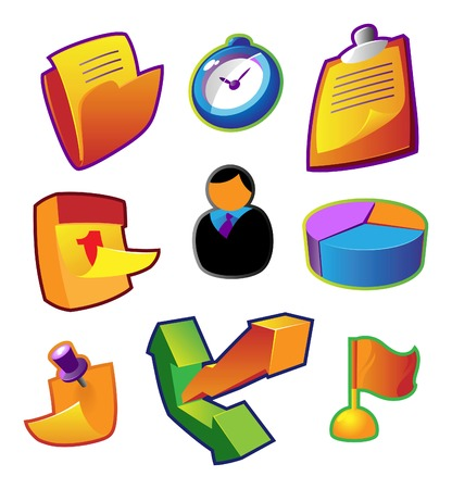 yelow: Colorful icons for business workflow. Vector illustration.
