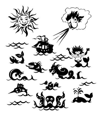 Fantasy sea monsters, Sun, Northwind and sailboat. Vector illustration. Vector