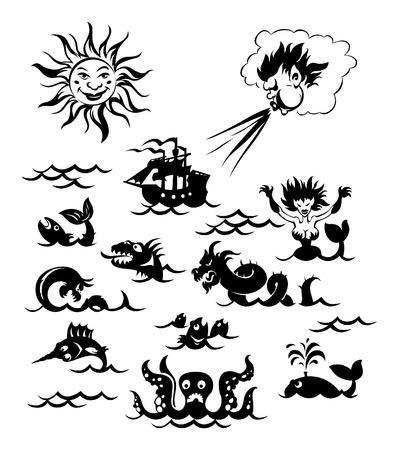 Fantasy sea monsters, Sun, Northwind and sailboat. Vector illustration. Vector