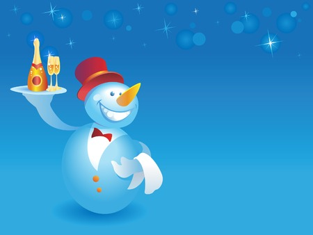 Snowman-waiter with champagne on blue background with snowflakes. Vector illustration. Vector