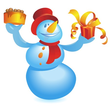 Snowman with cake and gift. Vector illustration. Stock Vector - 5687237
