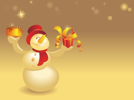 Smiling Snowman with cake and gift on background of warm colors. Vector illustration. Stock Vector - 5687244