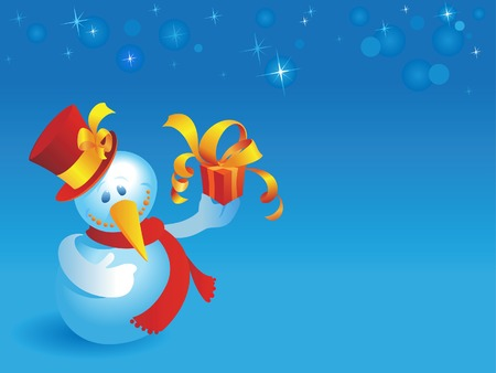 Snowman with gift on blue winter background. Vector illustration. Stock Vector - 5687235
