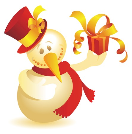 Snowman with gift. Vector illustration. Stock Vector - 5687227