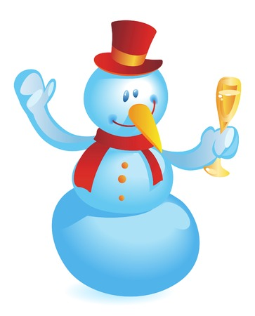 Snowman with wineglass. Vector illustration.