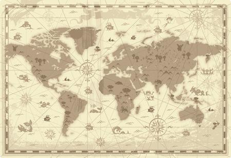 Retro-Stil Karte der Welt mit Bergen und Fantasy Monsters. Colored in Sepia. Vektor-Illustration.