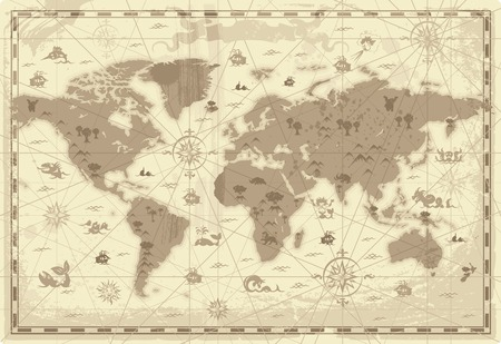 Retro-styled map of the World with mountains and fantasy monsters. Colored in sepia. Vector illustration. Vector