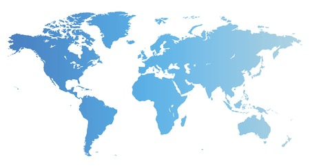 Map of the World in blue color. Vector illustration.