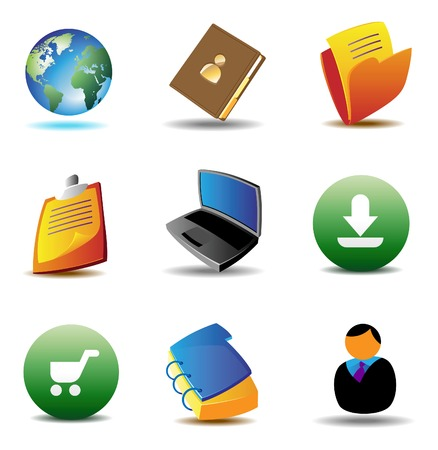 ebusiness: E-business icons for website.  Illustration