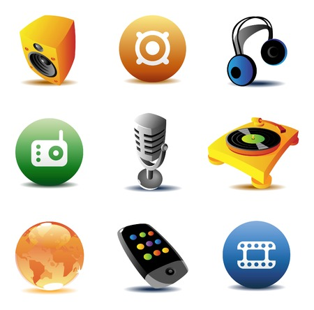 Icons for music and entertainment. Vector