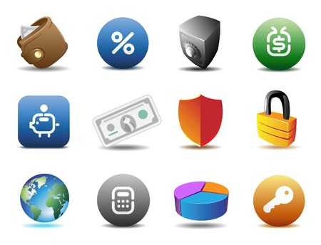 Finance and security icons.  Vector