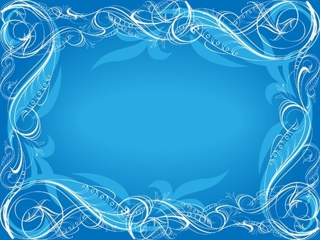 swirly: Blue background with frame.