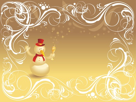 Christmas background with ornate border and snowman. Vector