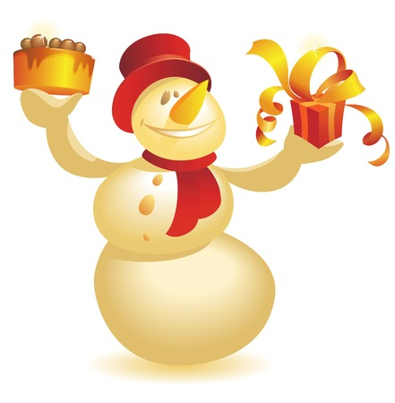 Smiling Snowman with cake and gift in hands. Stock Vector - 5707904