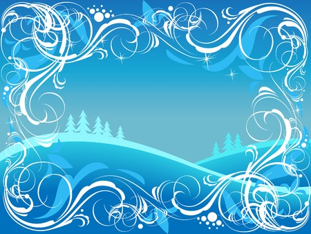 Background with ornate border and winter landscape. Vector