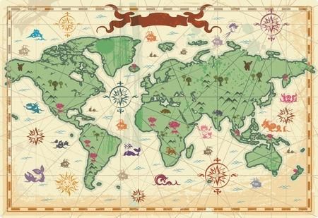 Retro-opgemaakt kaart van de wereld met bomen, de volcanos, de bergen en de fantasie monsters.