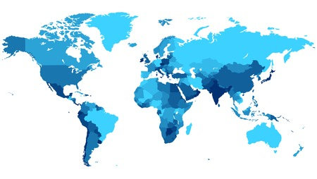 Detailed map of the World with countries in blue colors.  Vector