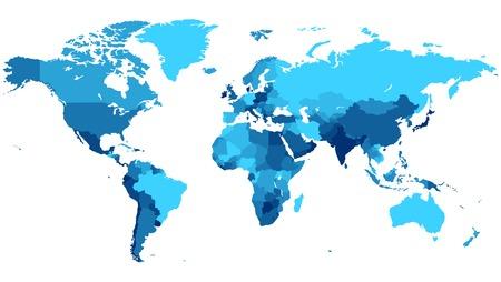 mapa mundo: Mapa detallado del mundo con los países en los colores azul. Vectores