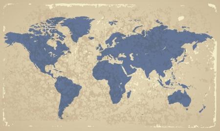 Retro-gestileerde kaart van de wereld.