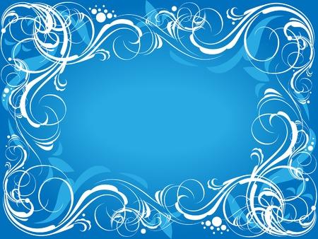 Blue floral frame. Vector illustration. Vector