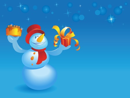 Snowman with cake and gift on blue winter background with snowflakes. Vector illustration. Stock Vector - 5730015