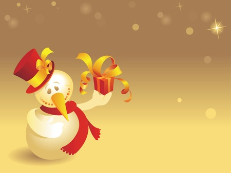 Snowman with gift on warm colored background with snowflakes. Vector illustration. Stock Vector - 5730009