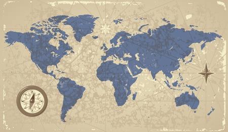 Retro-stijl wereld kaart met kompas en wind roos. Vector illustratie.