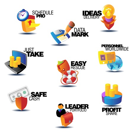 heading: Business icons. Heading concepts for document, article or website. Vector illustration. Illustration