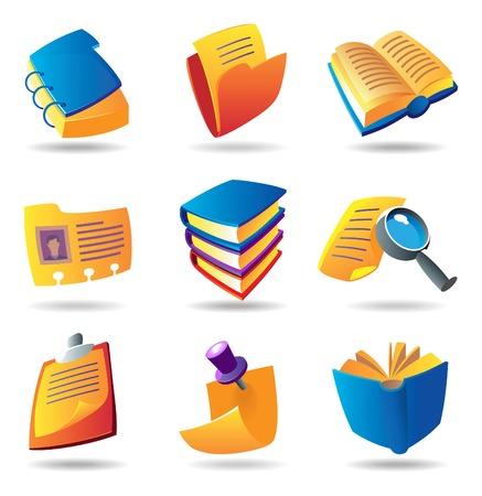 databank: Pictogrammen voor boeken en kranten. Vector afbeelding. Stock Illustratie