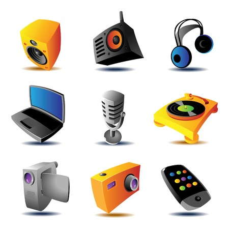 clipart speaker: Media devices icons. Vector illustration.