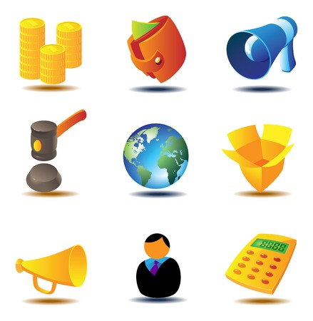 calc: Icons for online auction and e-commerce. Vector illustration.