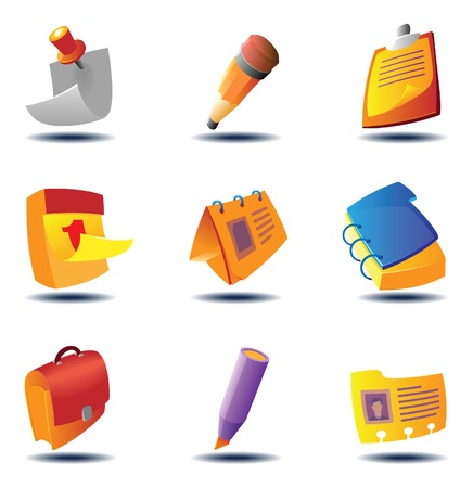 heading: Icons for office: stationery and paper documents. Vector illustration.