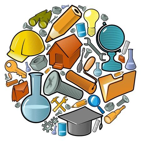 Industrie conception du monde: cercle des icônes pour la science et la production. Vector illustration.