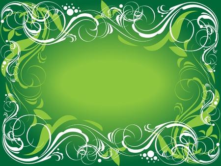 Trame verte ornée. Vector illustration.