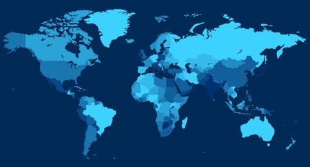Carte du monde avec les pays sur fond bleu. Vector illustration.