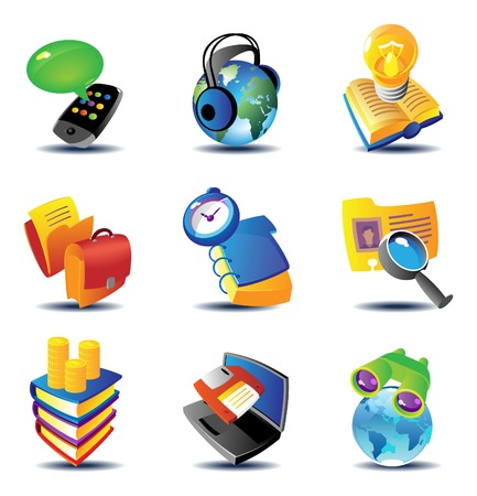 Concept icons for business communications and media. Vector illustration. Stock Vector - 5961198