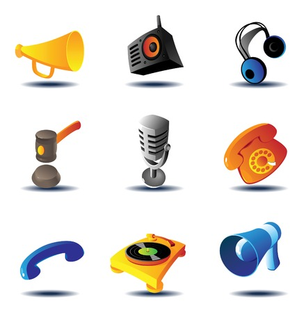 Sound device icons. Vector illustration. Vector
