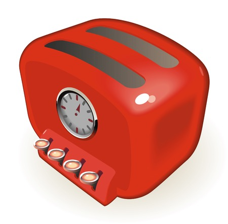 toaster: Retro-styled toaster with timer. Vector illustration.