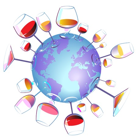 weingläser: Wein World-Konzept. Vektor-Illustration.