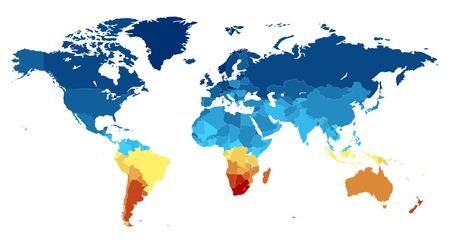 Carte du monde avec les pays en couleurs différentes. Illustration vectorielle.
