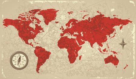 Un style rétro carte du monde. Illustration vectorielle.