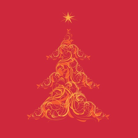 Christmas tree made of ornaments on red background. Vector illustration. Stock Vector - 6054896