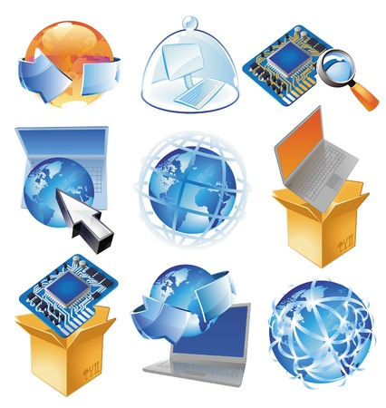 services icon: Concepts for IT-business, technology and worldwide web.