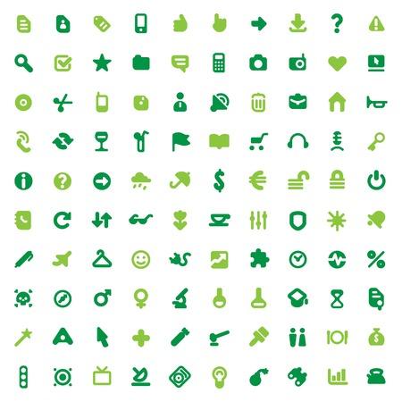 educaci�n en l�nea: Conjunto de iconos de verdes de cien para la interfaz del sitio Web, dise�os de negocios, finanzas, seguridad y ocio.