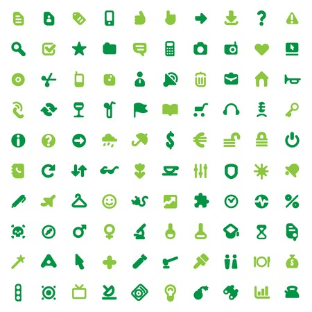 Set of one hundred green icons for website interface, business designs, finance, security and leisure.  Vector